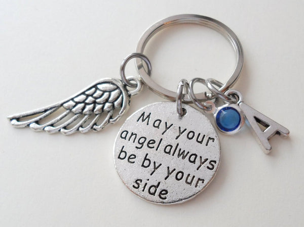 May Your Angel Always Be By Your Side Keychain with Wing Charm, Add-on Charm Options