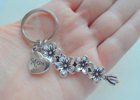 Mom Heart & Flowers Charm Keychain, Mother's Gift- Thanks for Helping Me Grow