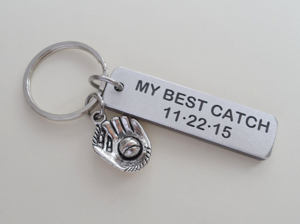 "Personalized ""My Best Catch"" Engraved Aluminum Tag Keychain and Baseball Mitt Charm Keychain; Couples Keychain"