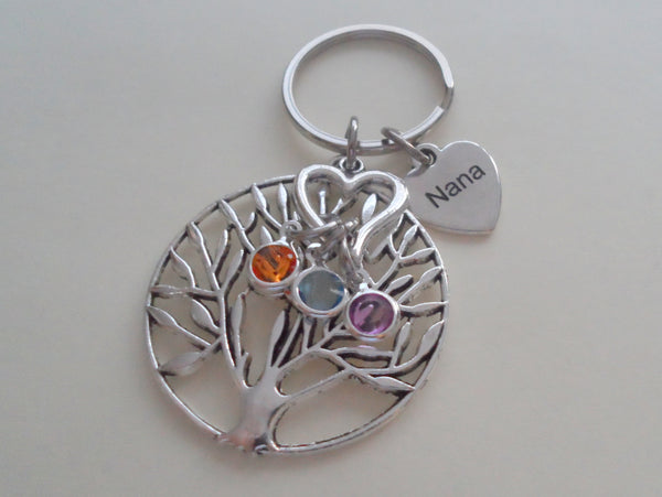 Custom Engraved Family Tree Keychain with Birthstone Charms, Gift for Mom, or Grandma, Personalized