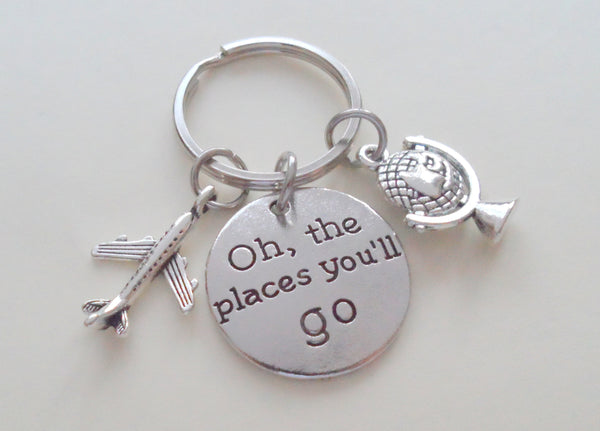 Oh, The Places You'll Go Disc Charm with Airplane & Globe Charm, Graduate Keychain by JewelryEveryday