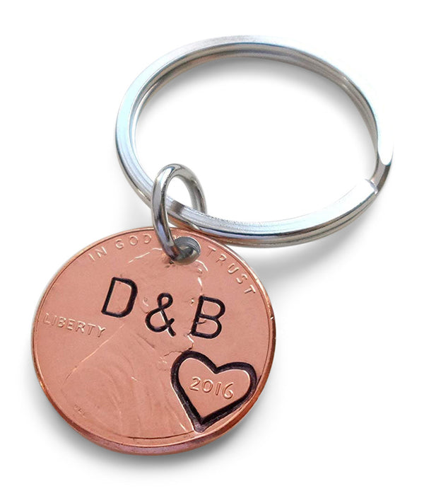 Anniversary Gift • Personalized Penny Keychain Stamped w/ Heart Around the Year w/ Option to Add Initials & Anniversary Date by Jewelry Everyday