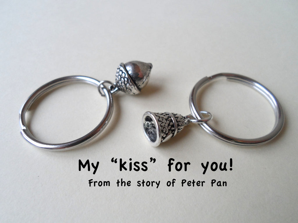 Thimble & Acorn Keychain Set - Peter Pan's Kiss; Couples Keychain Set