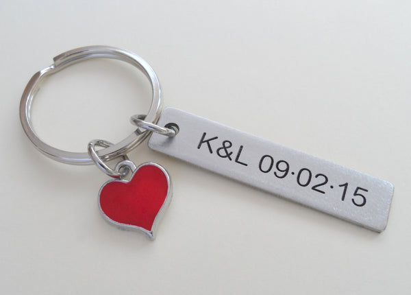 Red Heart Charm Keychain and Steel Tag Custom Engraved, Couples Keychain Gift
