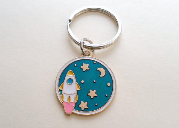 Rocket Ship in Space with Moon & Stars Charm Keychain