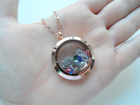 Personalized Rose Gold Circle Stainless Steel Locket Necklace for Mom or Grandma - by Jewelry Everyday