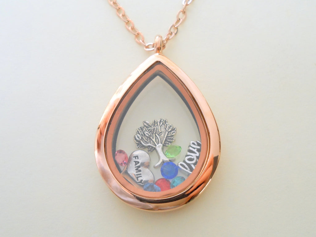 Personalized Rose Gold Teardrop Stainless Steel Locket Necklace for Mother or Grandma - by Jewelry Everyday
