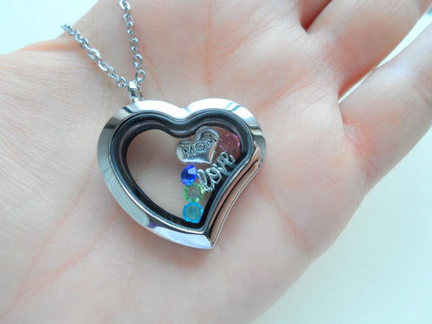 Personalized Stainless Steel Side Hung Heart Memory Locket Necklace for Mom or Grandma - by Jewelry Everyday