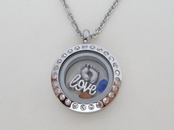 Personalized Small Circle Stainless Steel Memory Locket Necklace - by Jewelry Everyday