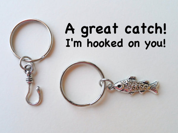 Spotted Fish and Hook Keychain Set - A Great Catch, I'm Hooked on You; Couples Keychain Set