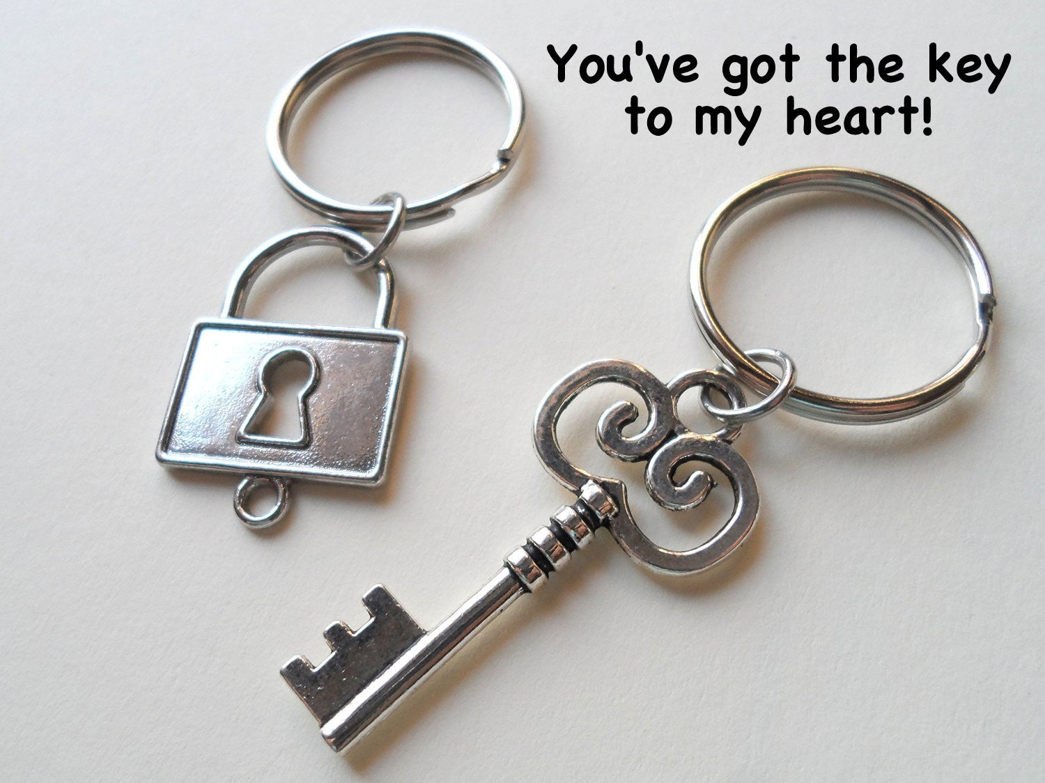 04fc128f00 Square Lock and Key Keychain Set - You've Got The Key To My Heart