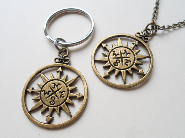 Bronze Sun Compass Neckace and Keychain Set