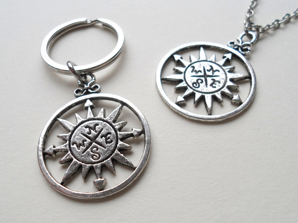 Sun Compass Necklace and Keychain Set