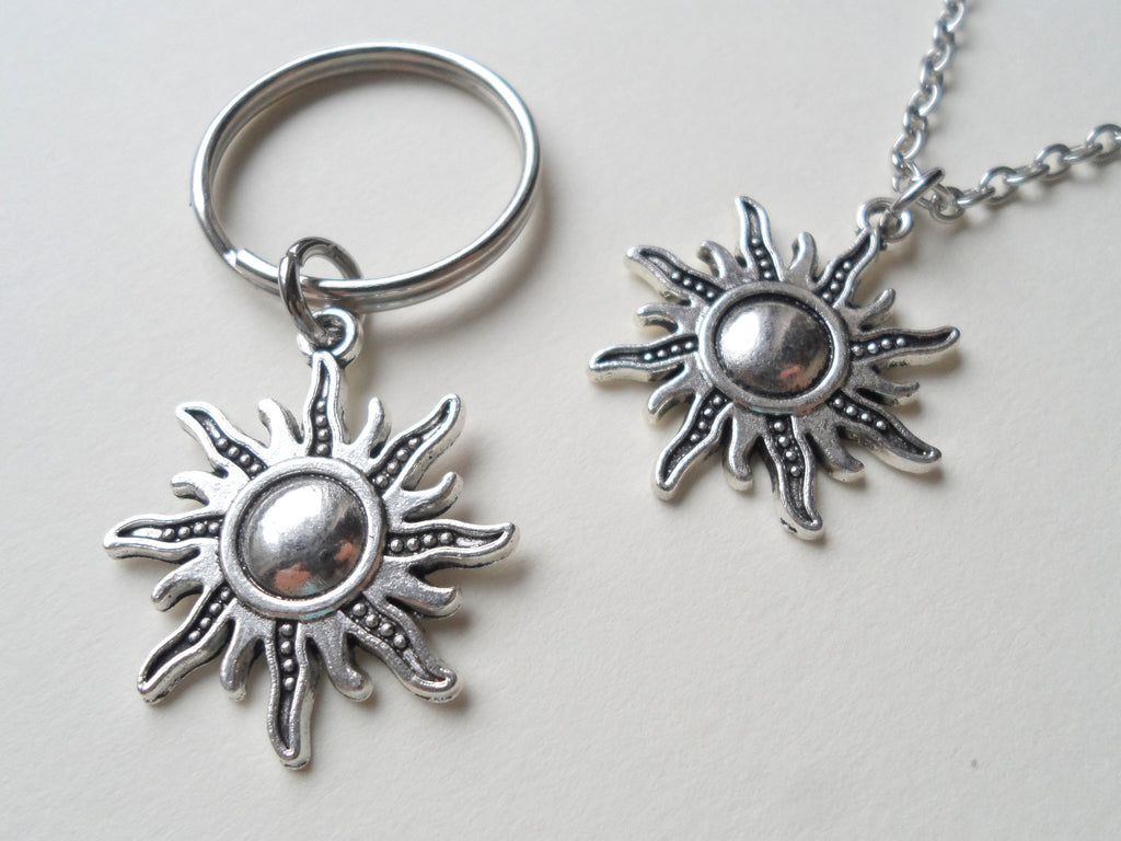 Sun Necklace and Sun Keychain Set