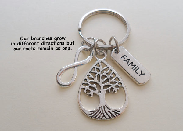 Teardrop Shaped Family Tree Keychain With Infinity Charm - Our Roots Are As One