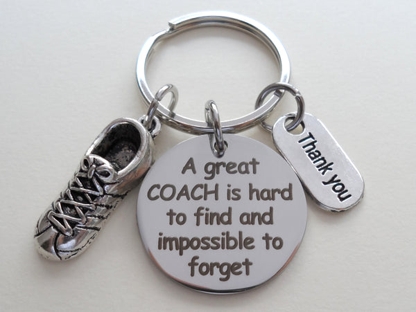 "Track Coach Appreciation Gift • Engraved ""A Great Coach is Impossible to Forget"" Keychain 