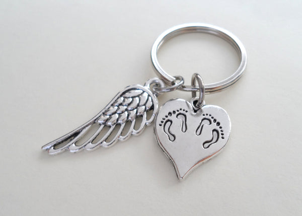 Twin Babies Memorial Keychain, Twins Feet Heart Charm & Wing Charm by JewelryEveryday