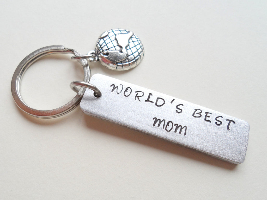 """World's Best Mom"" Hand Stamped Aluminum Tag Keychain; Hand Stamped Mother's Keychain"