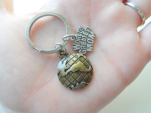 World's Greatest Mom Bronze World Globe Keychain