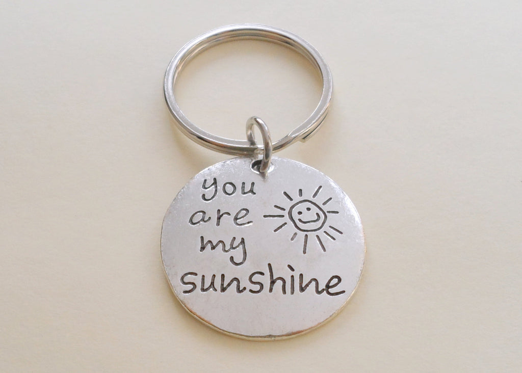 You Are My Sunshine Charm Saying Keychain, 25mm Disc by JewelryEveryday