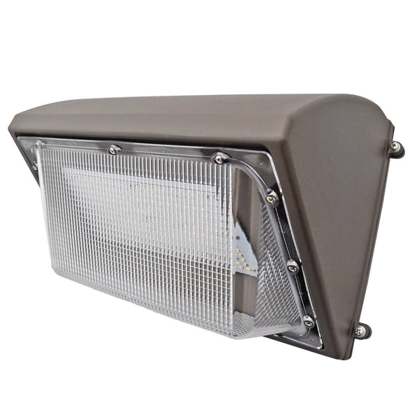 62W LED Wall Pack Light - Semi Cutoff - Glass - PC - Forward Throw - Photocell Include