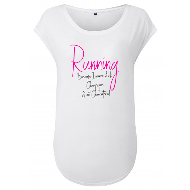 Running, Because I Wanna Drink Champagne And Eat Charcuterie' Customisable Cap Sleeve Women's Workout Top