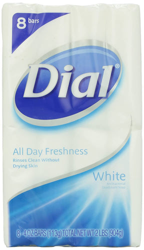 Dial Antibacterial Deodorant Soap, White, 4 Ounce (Pack of 8) Bars - Tolerant Planet
