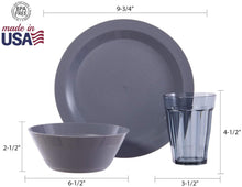Load image into Gallery viewer, Cambridge Plastic Plate, Bowl and Tumbler Dinnerware | 12-piece set Grey - Tolerant Planet