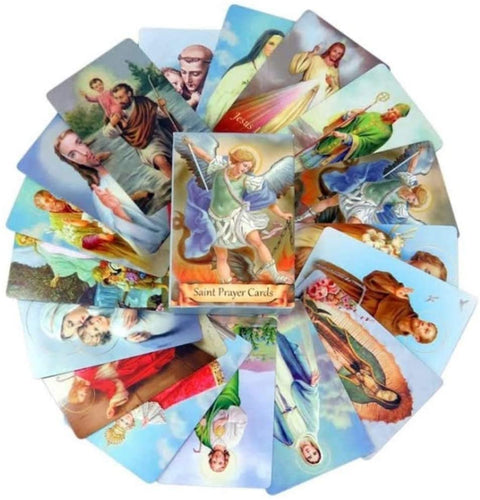 54 Pack Assorted Holy Cards with Catholic Saints and Prayers. - Tolerant Planet