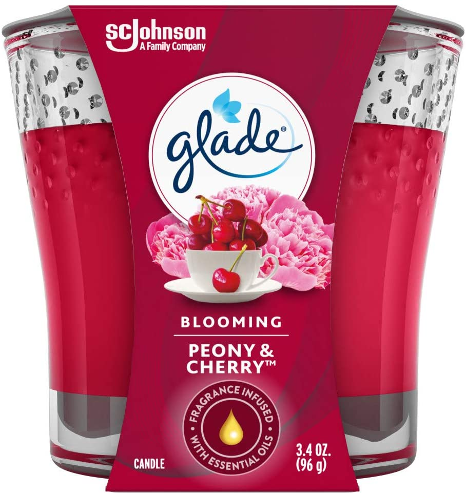Glade Candle Jar, Air Freshener, Blooming Peony & Cherry, 3.4 Oz - Tolerant Planet