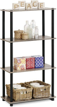 Load image into Gallery viewer, Furinno (99557GYW/BK) Turn-N-Tube 4-Tier Multipurpose Shelf Display Rack - French Oak Grey/Black - Tolerant Planet