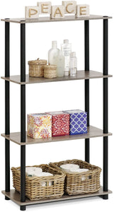 Furinno (99557GYW/BK) Turn-N-Tube 4-Tier Multipurpose Shelf Display Rack - French Oak Grey/Black - Tolerant Planet
