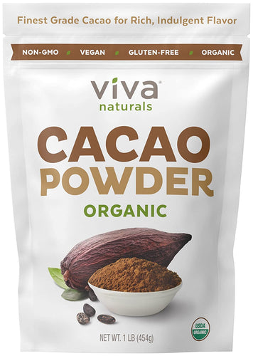 Viva Naturals Finest Organic Cacao Powder 1 LB Bag - Tolerant Planet