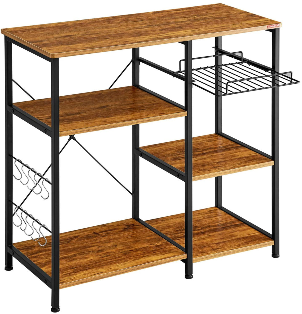 MrIRONSTONE Kitchen Baker's Vintage Utility Storage Shelf Microwave Stand 3-Tier+3-Tier Table for Spice Rack Organizer Workstation - Tolerant Planet