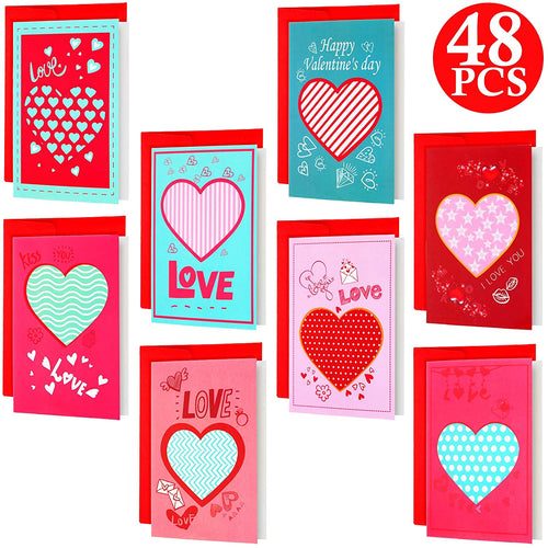 (48 Pieces SET) Valentine's Day Greeting Cards - Tolerant Planet