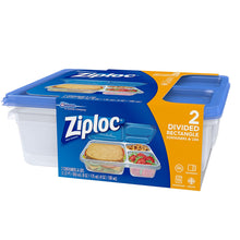 Load image into Gallery viewer, Ziploc Food Storage Containers, Perfect for On-the-go snacking, BPA Free, Divided Rectangle, 2 Count - Tolerant Planet