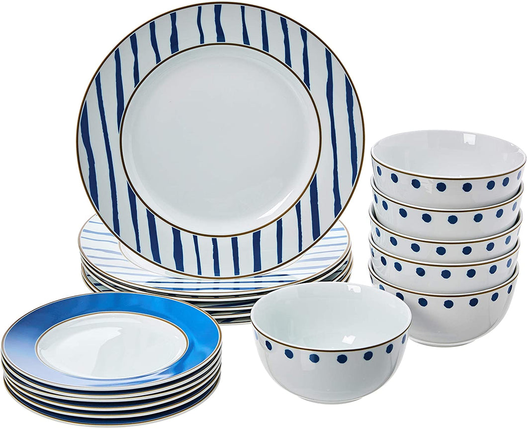 18-Piece Kitchen Dinnerware Set, Plates, Dishes, Bowls, Service for 6, Blue Accent - Tolerant Planet