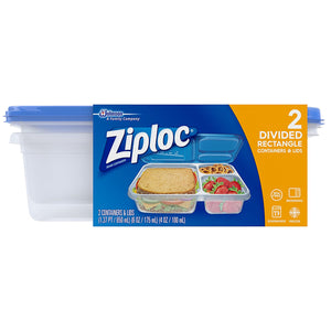 Ziploc Food Storage Containers, Perfect for On-the-go snacking, BPA Free, Divided Rectangle, 2 Count - Tolerant Planet
