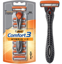 Load image into Gallery viewer, Bic Comfort 3 Hybrid Men's 3-Blade Disposable Razor, (1 Handle and 6 Cartridges) - Tolerant Planet