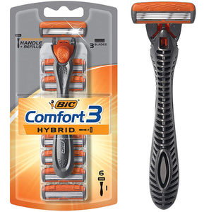 Bic Comfort 3 Hybrid Men's 3-Blade Disposable Razor, (1 Handle and 6 Cartridges) - Tolerant Planet