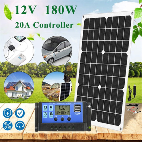 (180W 12V) Protable Solar Panel Kit 1/2 USB Port with 20A LCD Display Solar, Charge Controller - Tolerant Planet