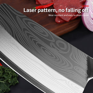 Kitchen Knife Damascus Laser Pattern Chinese Chef Knife Stainless Steel Butcher Meat Chopping Cutter - Tolerant Planet