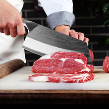 Load image into Gallery viewer, Kitchen Knife Damascus Laser Pattern Chinese Chef Knife Stainless Steel Butcher Meat Chopping Cutter - Tolerant Planet