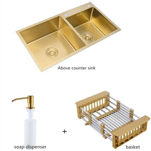 Gold Brushed Kitchen Sink Double Bowl Stainless Steel Above Counter Sink Drain Hair Catcher Kitchen Bowl Set Steel Sink Basket - Tolerant Planet