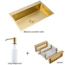Load image into Gallery viewer, Gold Brushed Kitchen Sink Double Bowl Stainless Steel Above Counter Sink Drain Hair Catcher Kitchen Bowl Set Steel Sink Basket - Tolerant Planet