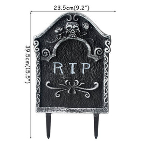 Cyuan Halloween garden decor scary skull skeleton props RIP letter tombstone haunted house hanging Halloween party supplies - Tolerant Planet