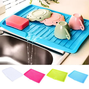 Drain Rack Kitchen Silicone Dish Drainer Tray Large Sink Drying Rack Worktop Organizer Drying Rack For Dishes Tableware - Tolerant Planet