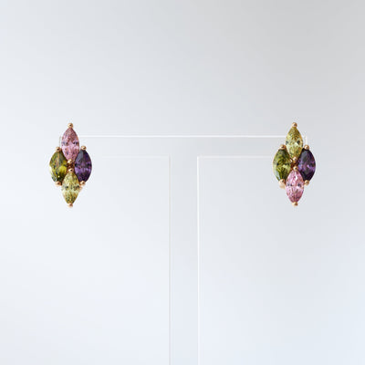 Multi Coloured Diamond Shaped Stud Earrings - Love & Lilly
