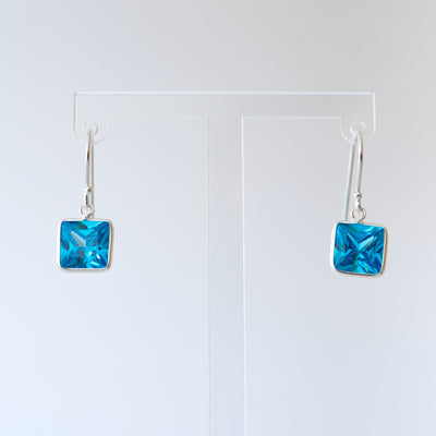 Sterling Silver and Blue Topaz Crystal Drop Earrings - Love & Lilly