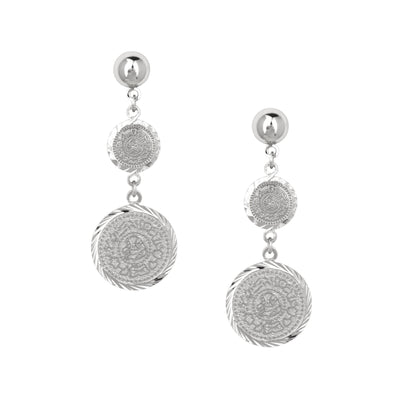 High Quality Rhodium Finished Coin Drop Earrings - Love & Lilly